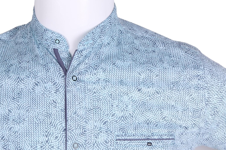 Рубашка мужская приталенная, воротник стойка, в мелкий рисунок, короткий рукав (Арт. T 4639К)