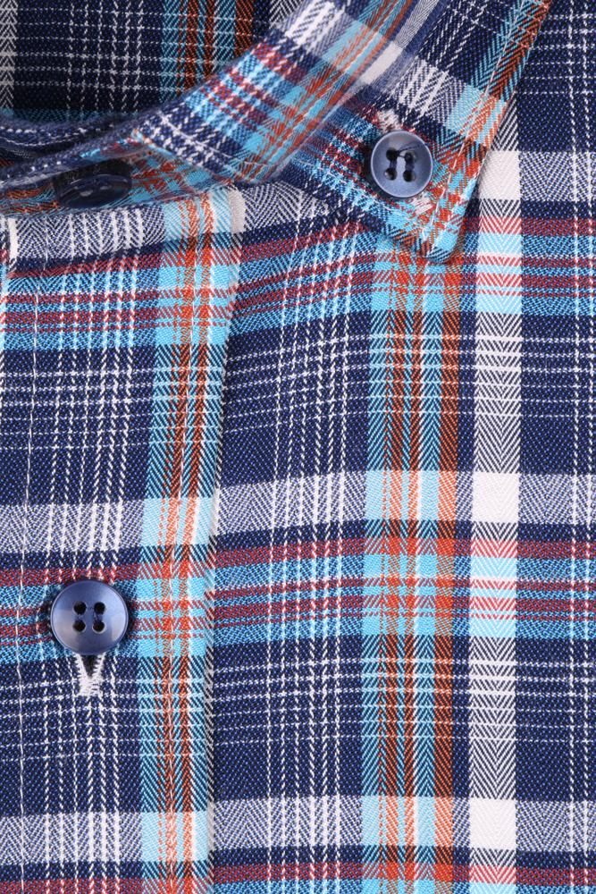Рубашка мужская классика в клетку, длинный рукав (Арт. T 4655)