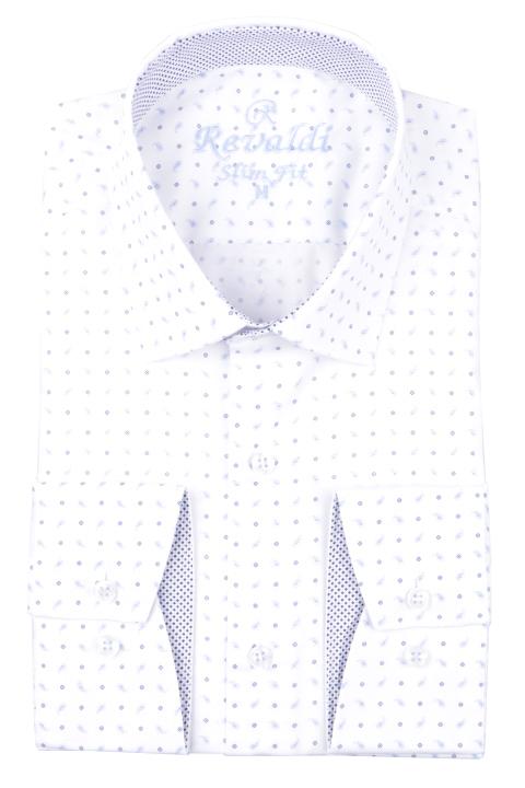 Рубашка мужская приталенная в мелкий рисунок, длинный рукав (Арт. T 4676)