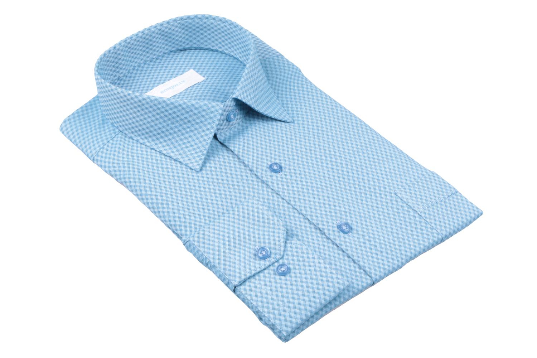 Рубашка мужская классика в клетку, длинный рукав (Арт. T 4687)
