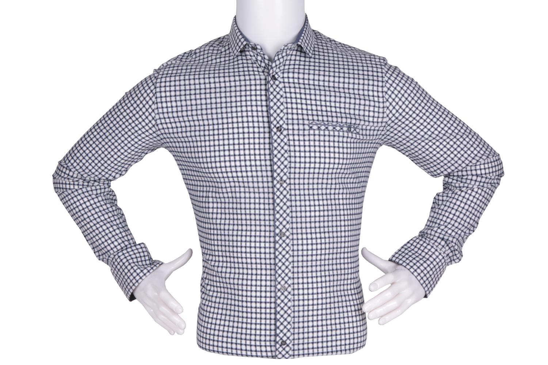 Рубашка мужская приталенная в клетку, длинный рукав (Арт. T 4769)