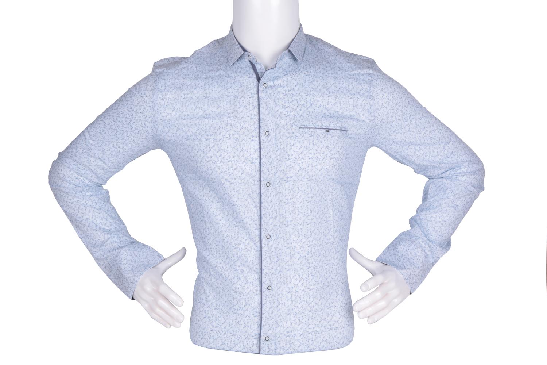 Рубашка мужская приталенная в мелкий рисунок, длинный рукав (Арт. T 4773)