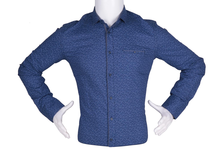 Рубашка мужская приталенная в мелкий рисунок, длинный рукав (Арт. T 4774)