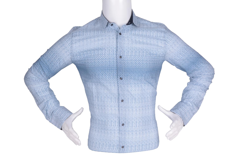 Рубашка мужская приталенная в мелкий рисунок с переходом цвета, длинный рукав (Арт. T 4780)