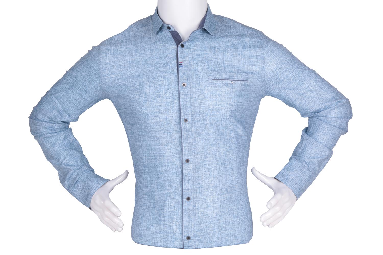 Рубашка мужская приталенная в мелкий рисунок, длинный рукав (Арт. T 4787)