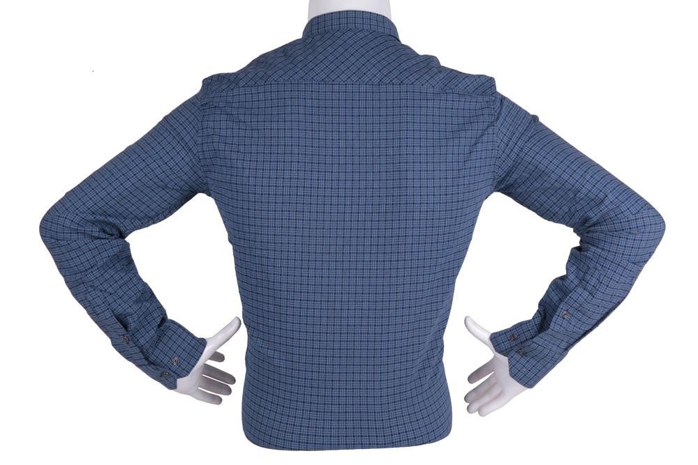 Рубашка мужская приталенная в клетку, длинный рукав (Арт. T 4799)