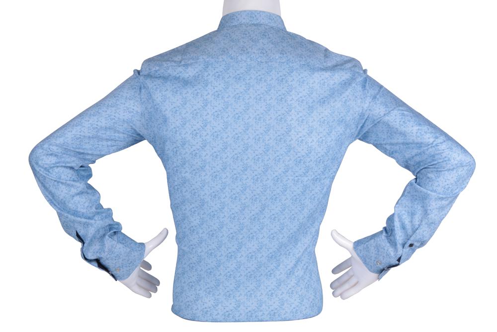 Рубашка мужская приталенная в мелкий узор, длинный рукав (Арт. T 4813)