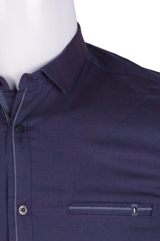 Рубашка мужская приталенная в мелкий рисунок, длинный рукав (Арт. T 4814)