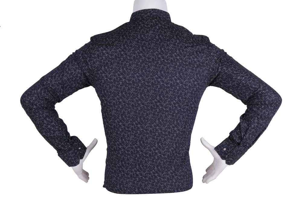 Рубашка мужская приталенная в мелкий рисунок, длинный рукав (Арт. T 4818)