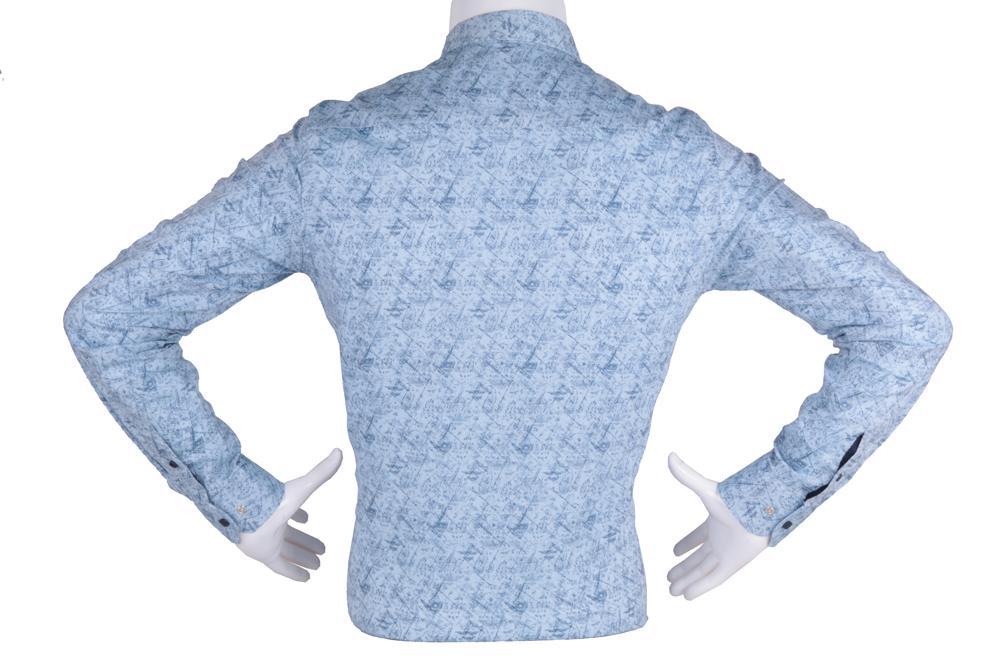 Рубашка мужская приталенная в мелкий рисунок, длинный рукав (Арт. T 4822)