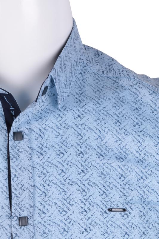 Рубашка мужская приталенная в мелкий рисунок, длинный рукав (Арт. T 4825)