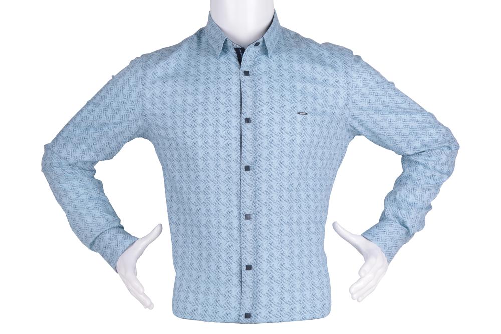 Рубашка мужская приталенная в мелкий рисунок, длинный рукав (Арт. T 4826)