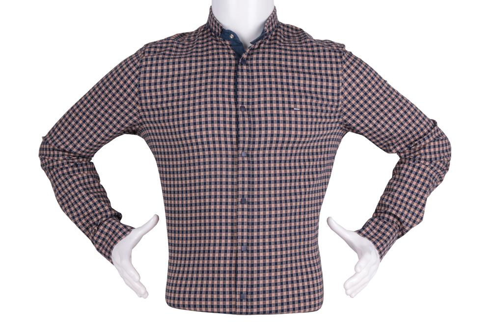 Рубашка мужская приталенная в клетку, длинный рукав (Арт. T 4827)
