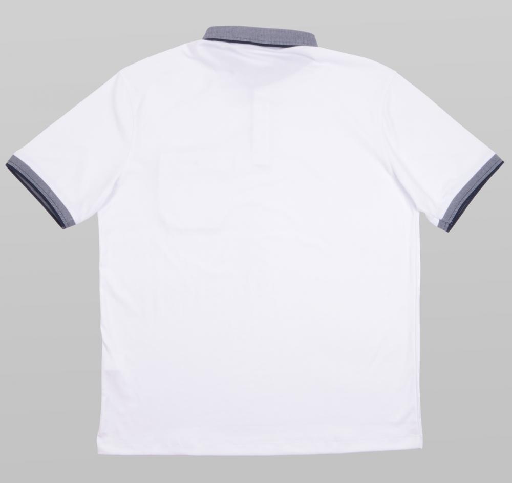 Футболка поло однотонная белая c декоративным воротником (Арт. PO5053B)